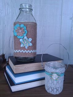 ~Christle's Creations~ Burlap & Lace Recycled Mason & milk Jars