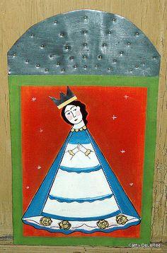 Santos Painting on Vintage Tin.
