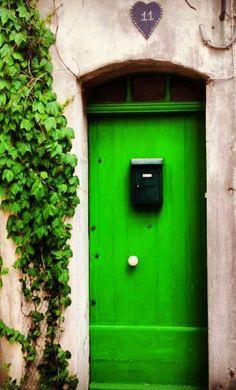 Aigues-Mortes, Gard, France green door