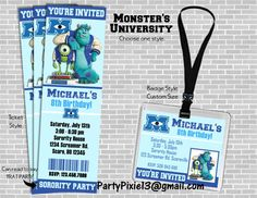 Monsters University Party Invitation - Ticket Style or Badge Style - Printable and Customized with your party details. Digital file. on Etsy, $8.00