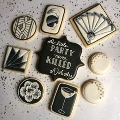 .a little party never killed nobody. [cookie connection link] art deco cookies for 1920's speakeasy themed party (roaring 20's, prohibition, Gatsby)