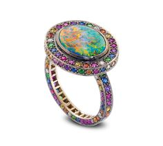 Solange Azagury-Partridge, Chromantic ring, black opal and multi-coloured gemstones ring set in blackened 18ct white gold