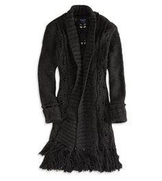 AE Open Fringe Sweater Coat....in cream size Large