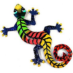@Overstock - Gecko is handmade in Haiti from recycled oil drumsMetal art-piece includes small hook for hangingReptilian sculpture is painted with bright colorful design inspired by local Haitian culturehttp://www.overstock.com/Worldstock-Fair-Trade/Metal-Striped-Gecko-Wall-Art-Haiti/3982844/product.html?CID=214117 $14.39