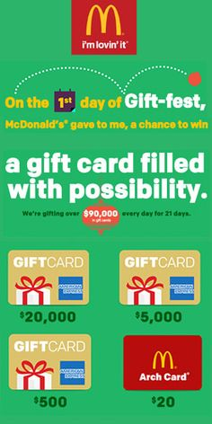 Enter the #McDonald's 21 Days of Gift-Fest to #Win $90,000 in #GiftCards! #food #eat #giveaway VALID UNTIL DEC 22