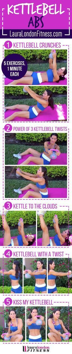 15 Minute toning Ab Kettlebell workout with Laura London. 5 moves each done for one minute to tighten, tone and work the core from the inside out. Make sure you don't miss the KISS MY KETTLEBELL exerc Sixpack Training, Cardio Training, Kettlebell Training, Kettlebell Abs, Kettlebell Challenge, Fitness Inspiration, Style Inspiration, Fitness Diet, Health Fitness