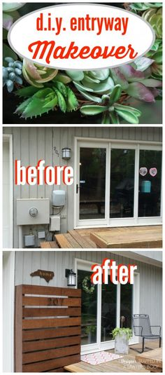 What a transformation! This back door entry went from being an eye sore to stunning and welcoming. Full reveal by Designer Trapped in a Lawyer's Body. Back Doors, Entry Doors, Entryway, Outdoor Projects, Diy Projects, Backyard Projects, House Projects, Garden Storage Shed, Makeover Before And After