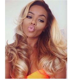 NEW Fashion Blonde Full Lace Ombre Wig Human Hair Virgin Brazilian Gluelesswave lace front Wigs Ombre Wavy On Sale Love Hair, Gorgeous Hair, Beautiful, Pretty Hair, Summer Hairstyles, Weave Hairstyles, Blonde Hairstyles, Curly Hair Styles, Natural Hair Styles