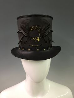 Hand Stitched Leather Top Hat - Unisex Top Hat, Steampunk Hat, Custom Top Hat, motorcycle hat, freedom hat