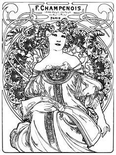 kleurplaat naar alfons mucha colouring picture amucha like rverie 1897