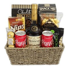 The Hennessy & Coke Gift Basket is available for same day delivery in Las Vegas, NV. Featuring Hennessy VS Cognac, Coke and variety of gourmet salty & sweet snacks. Create your own Custom Hennessy Gift Basket by calling 702-214-1221.  #hennessygiftbasket #hennessygift #fathersdaygiftbasket #customfathersdaygift #diygiftbasket #housewarminggiftbasket #giftsfordad Liquor Gift Baskets, Housewarming Gift Baskets, Themed Gift Baskets, Diy Gift Baskets, Raffle Baskets, Beer Gifts, Diy Gifts, Diy Birthday, Birthday Gifts