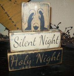 PRIMITIVE WINTER CHRISTMAS BLOCK SIGN~~SILENT NIGHT~~HOLY NIGHT~~BABY JESUS~~