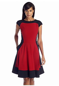 Perfect Pairings-Color Block Fit and Flare Dress and Slim Cognito High Waist Mid Thigh