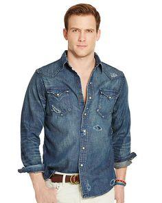 Shop Clothing for Men, Women, Children & Babies Denim Shirt Men, Chambray Shirts, Western Shirts, Boys Shirts, Denim Fashion, Distressed Denim, Everyday Fashion, Jeans, Polo Ralph Lauren