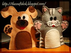 Dog and cat handpuppets by The Craft Desk, via Flickr