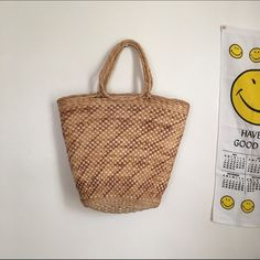 Wicker Picnic Bag Large wicker bag. Good vintage condition. 18 inches at the widest point. 15 inches from top to bottom (not including straps). Vintage Bags Totes