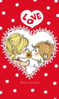 水森亜土 Little Boy And Girl, Girls In Love, Pretty And Cute, Pretty Art, Couple Illustration, Illustration Art, Love Hug, Cute Characters, Illustrations And Posters