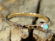 Classic Solid 14k Gold Opal Ring