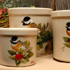 Joyces Creative Country - Custom painted saws, slates and tinware Christmas Scenes, Christmas Diy, Painted Pots, Hand Painted, Tole Painting, Clay Pots, Custom Paint, Crock, Arts And Crafts