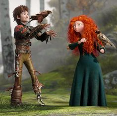 Merida: Hic, what are you doing? Hiccup:*scrutinizing eyes over Merida* Nothing, just looking at how beautiful the girl in front of me is. Disney Pixar, Disney Ships, Disney Memes, Disney And Dreamworks, Disney Art, Httyd, Jack Frost, Princesa Merida Disney, Rapunzel