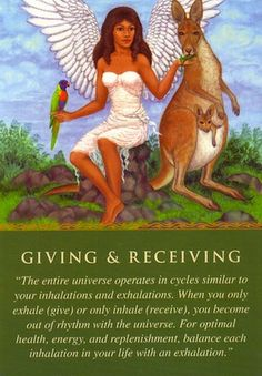 The angel sent this card to you because your giving-and-receiving ratio has been out of balance lately. If you've been giving much more than receiving, you've likely been feeling that others are taking advantage of your kindness... (keep reading: http://www.freeangelcardreadingsonline.com/2013/daily-guidance-from-your-angels-giving-and-receiving/)