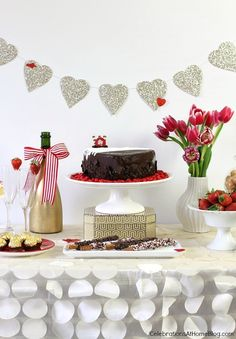 Valentine's Day dessert table for the family #desserttable #valentinesday
