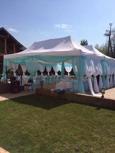 Свадьба в стиле Тиффани .Оформление шатра тканью на свадьбу