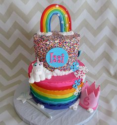 Little Girl's Birthday Cake | Rainbow Cake | Unicorn Cake | Princess Cake | Milk & Honey Cakery | Socal Bakery