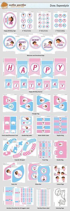 Dora Superstyle Printable Birthday Party KitCuties Parties