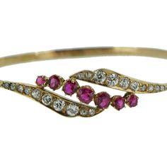 Antique Ruby and Diamond Bracelet closeup