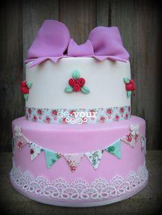 Cath Kidston cake, pretty cake, bow cake,bunting cake, birthday cake for girls, cath kidston