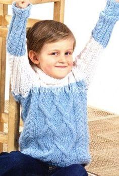 Голубой свитер | Вязание для детей | Вязание спицами и крючком. Схемы вязания.