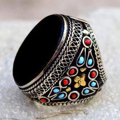 Black Onyx Stone,Afghan Kuchi Ring,Tribal Beaded Ring,Carved Ethnic Ring,Boho Jewelry,Festival,Big Bohemian Ring,Hippie Ring,Boho Gypsy Ring