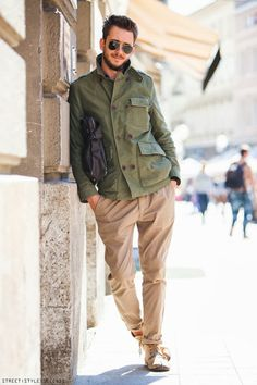 Military green jacket and beige chinos, Zagreb