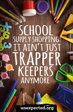 Anyone else made the mistake of thinking school supply shopping would be fun?  I remember my love of school supplies, picking out a fresh Trapper Keeper, hearing the satisfying rip of the brand new Velcro.  Pencils, pens, crayons, and maybe they'd specify what size pack. 1980s school supply shopping was a quick run to one store and deciding whether you wanted the kitten Trapper Keeper or the rainbow one. Last week I looked up my children's supply lists online and realized my naivety.