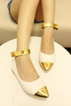 gold capped shoes
