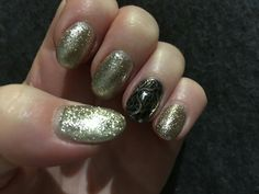 Angela sent me this lovely picture of her nails done with Tinsel Town Glitter with our Silver Chrome and stamping