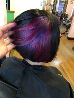 Hair Purple Peekaboo Bobs Ideas - All For Hair Color Balayage Peekaboo Color, Peekaboo Hair, Hair Color And Cut, Haircut And Color, Hair Highlights, Purple Highlights, Crazy Hair, Rainbow Hair, Purple Hair