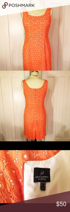 Orange Sherbet 🍊Lace Adrianna Papell Sheath Classic sheath with a pretty orange sherbet-colored lace overlay on white. Worn, but excellent condition. Adrianna Papell Dresses