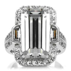 20 TCW Celebrity Inspired Emerald Cut Engagement Ring