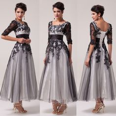 Ladies Half Sleeve Vintage Formal Ball Gown Prom Party Evening Homecoming Dress #Unbranded #BallGown #Formal