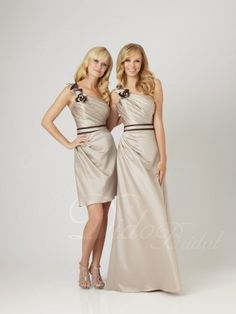 decided on my bridesmaids dresses! champagne with black accent instead of brown!