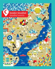 The city of two continents: Istanbul map by La Tigre for Air Canada Pamukkale, Travel Maps, Travel Posters, Country Maps, Thinking Day, Design Thinking, Map Design, Travel Design, City Illustration