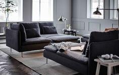 Revitalize a sua sala com algumas das nossas disposições preferidas para sofás modulares, tendo por base o sofá SÖDERHAMN.