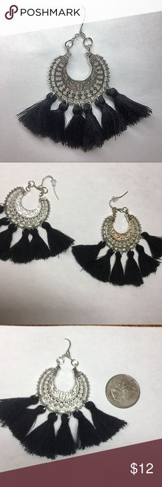 Boho Tassel Earrings New in package. Look adorable on! See last photo for size reference.   For a limited time Santa drawstring included Jewelry Earrings