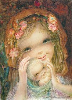 Con las manos sobre el Niñito Jesús y cobijado en colcha de burbujas multicolor                                                                                                                                                                                 Más