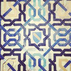Islamic tiles from the Alhambra, Granada Stencil Patterns, Tile Patterns, Geometric Patterns, Islamic Tiles, Islamic Art, Granada Spain, Spanish Tile, Gothic Architecture, Tile Art