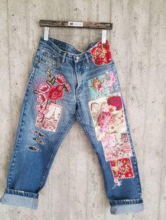Vintage Jeans, Boho Vintage, Vintage Stuff, Grunge Jeans, Hipster Jeans, Diy Jeans, Cute Jeans, Boyfriend Jeans, Redone Jeans