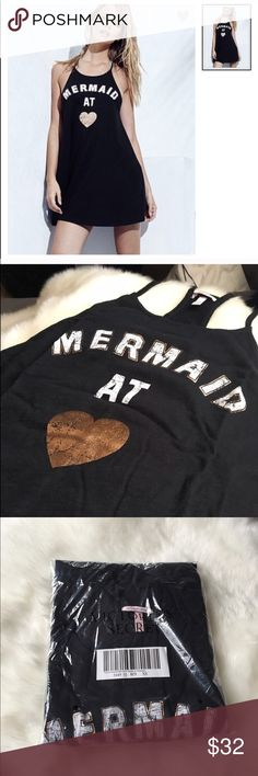 Mermaid At  Racerback Dress/Coverup NWT in packaging still dress/bathing suit coverup that says Mermaid at  in white and metallic rose gold writing  SO FREAKING CUTE AHHH! Size XS but is able to fit XS to Large! Victoria's Secret Dresses Mini