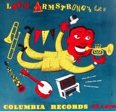 Album cover by Jim Flora, 1940s, Louis Armstrong, Columbia Records. music. album covers. records
